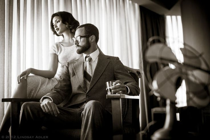 Vintage Mad Men Engagement Session, Photoshop World Las Vegas, Photo by Lindsay Adler