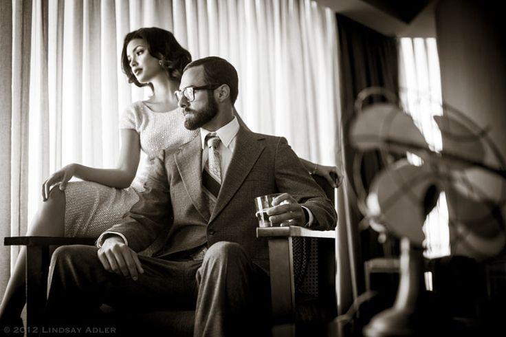 Vintage Mad Men Engagement Session, Photoshop World Las Vegas, Photo by Lindsay Adler