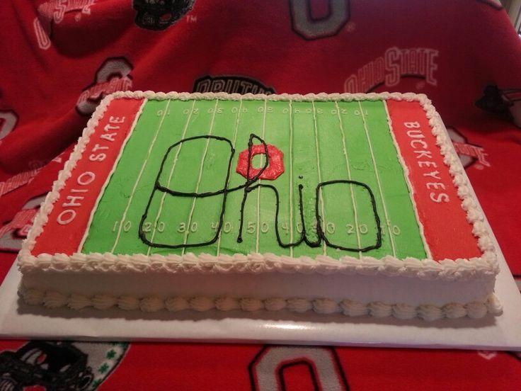 Script Ohio half sheet cake. Ohio State cake.