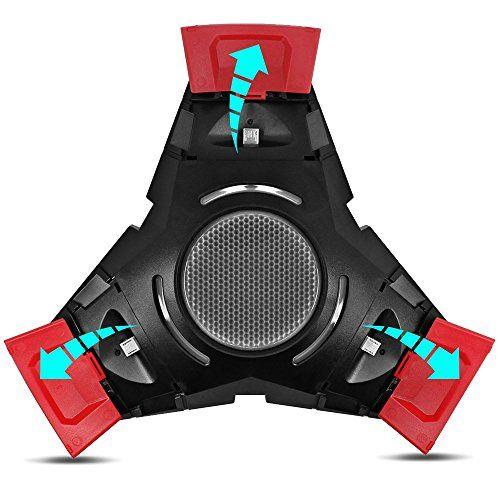 Senhai base de carga para PS4 Controlador, Estación de luz LED Triángulo Triple conector de carga para Play Station 4 Dualshock Consola con 3 pares Cubiertas Pulgar Grip
