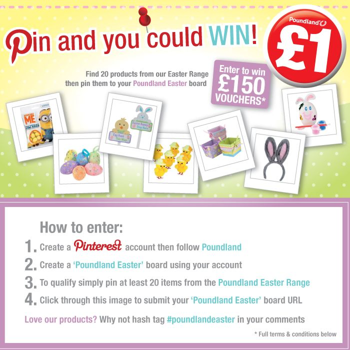 Enter for the chance to #win £150 Poundland vouchers! Pin at least 20 items from our Easter range at www.poundland.co.uk/easter and submit your board by clicking through this picture.