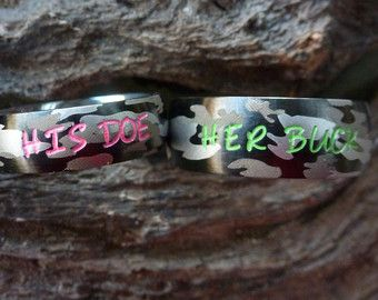 4 Colors His and Hers Camo Wedding Rings Set by KingswayJewelry
