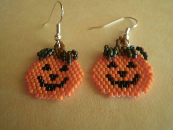 Jack-o-Lantern Pumpkin Halloween  Beaded  Dangle Earrings by JazminsJewels on…