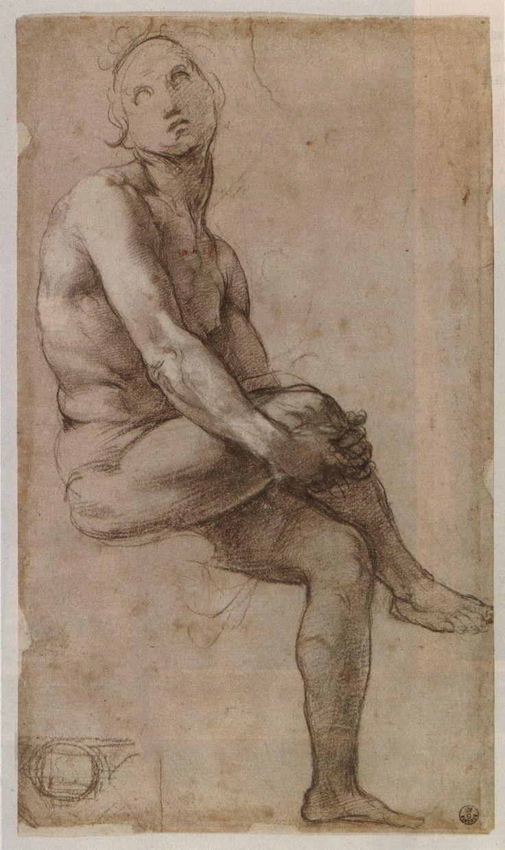Raphael (Raffaello Sanzio), 1483-1520, Italian, Study for Adam, c.1509.  Black chalk, 35.7 x 21 cm.  Uffizi Gallery, Florence.  High Renaissance.