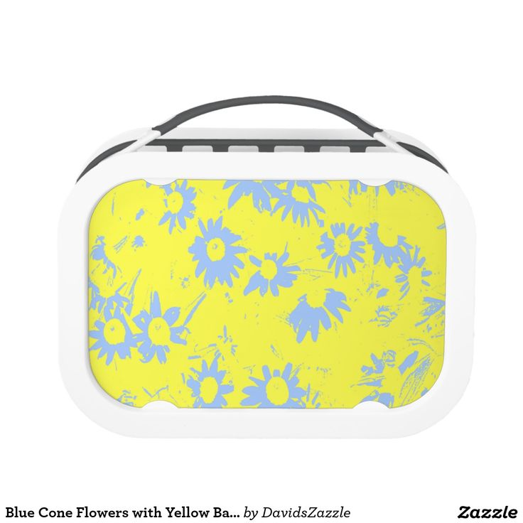 Blue Cone Flowers with Yellow Background Lunch Box  Available on more products, type in the name of this design in the search bar on my products page to view them all!  #cone #daisy #shasta #calendula #floral #flower #yellow #blue #pattern #print #all #over #abstract #plant #nature #earth #life #style #lifestyle #chic #modern #contemporary #home #decor #kitchen #dining