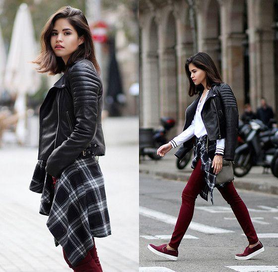 Adriana Gastélum - Reiss Leather Jacket, Windsor V Neck Sweater, Botkier Leroy Bag, Bata Burgundy Slipons - Meanwhile