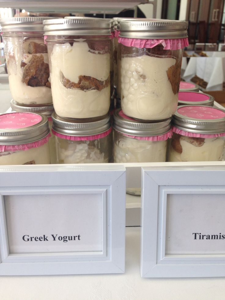 Greek yogurt or tiramisu in a jar
