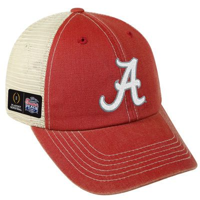 Men's Top of the World Crimson/Natural Alabama Crimson Tide College Football Playoff 2016 Peach Bowl Bound Trucker Adjustable Snapback Hat
