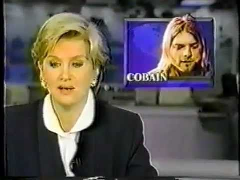 """The death of Nirvana's Kurt Cobain as covered by an ABC News broadcast in April of 1994. With anchor Diane Sawyer reciting lyrics from """"Dumb""""."""