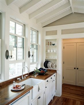 West Indies Meets Lowcountry traditional kitchen - Love the counter tops!