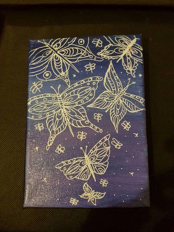Toile de taille de carte postale de papillon