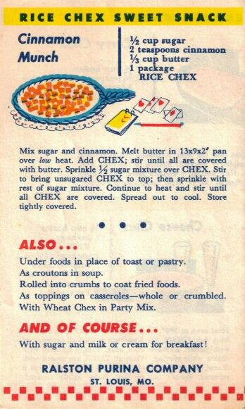Rice Chex Sweet Snack  -Vintage Recipes