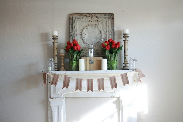 upholstery webbing garland and red tulips