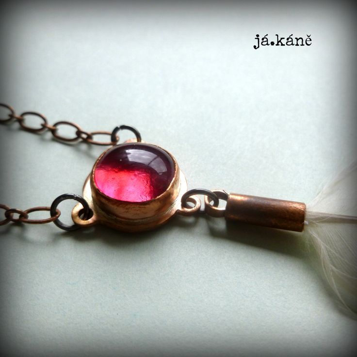 rustic copper pendant, feather necklace by jakanestudio on Etsy