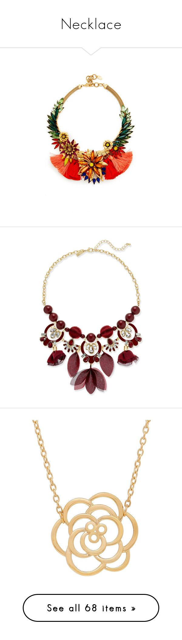 """""""Necklace"""" by annanikolova ❤ liked on Polyvore featuring jewelry, necklaces, accessories, tropical, tassel jewelry, 24 karat gold necklace, elizabeth cole jewelry, lobster clasp necklace, 24-karat gold jewelry and burgundy"""
