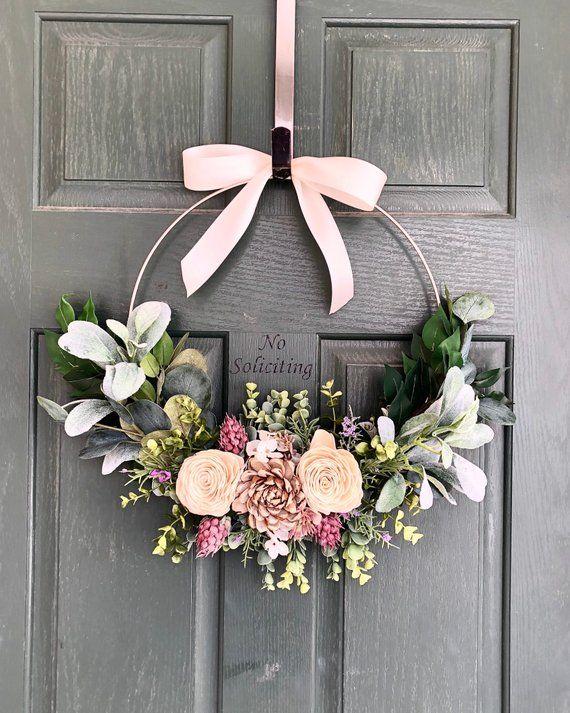 Spring Wreath Spring Wreaths For Front Door Summer Wreath Etsy