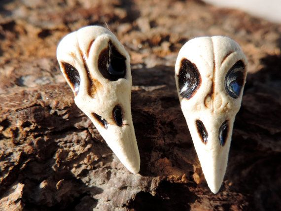 handmade ceramic bird skull studs by twinflowersjewelry on Etsy