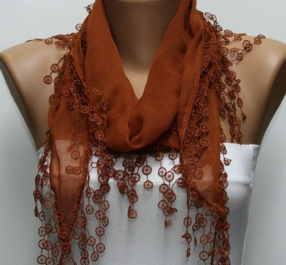 Brown Scarf   Cotton  Scarf   Cowl with Lace Edge    by fatwoman, $15.00