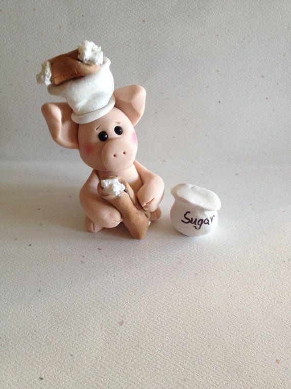 Holy Cannoli Chef Pig   Polymer Clay Pig   Kitchen Decor   Chef Gift    Cannoli