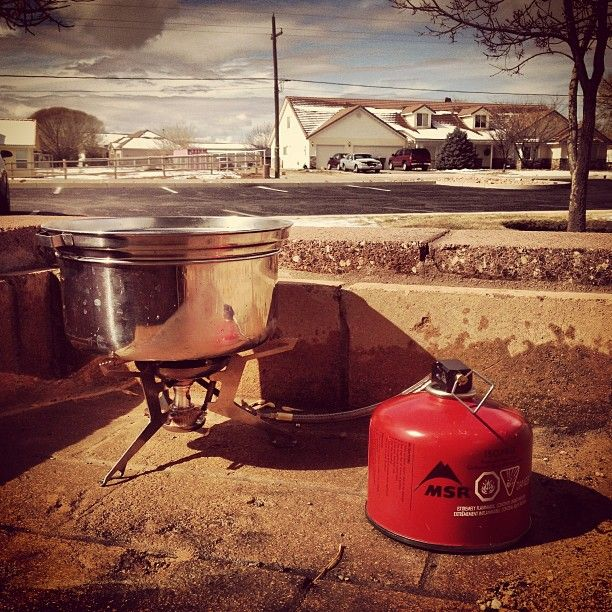 Camp stove cooking wild rice in suburbia! #rewild #teamsurthrival