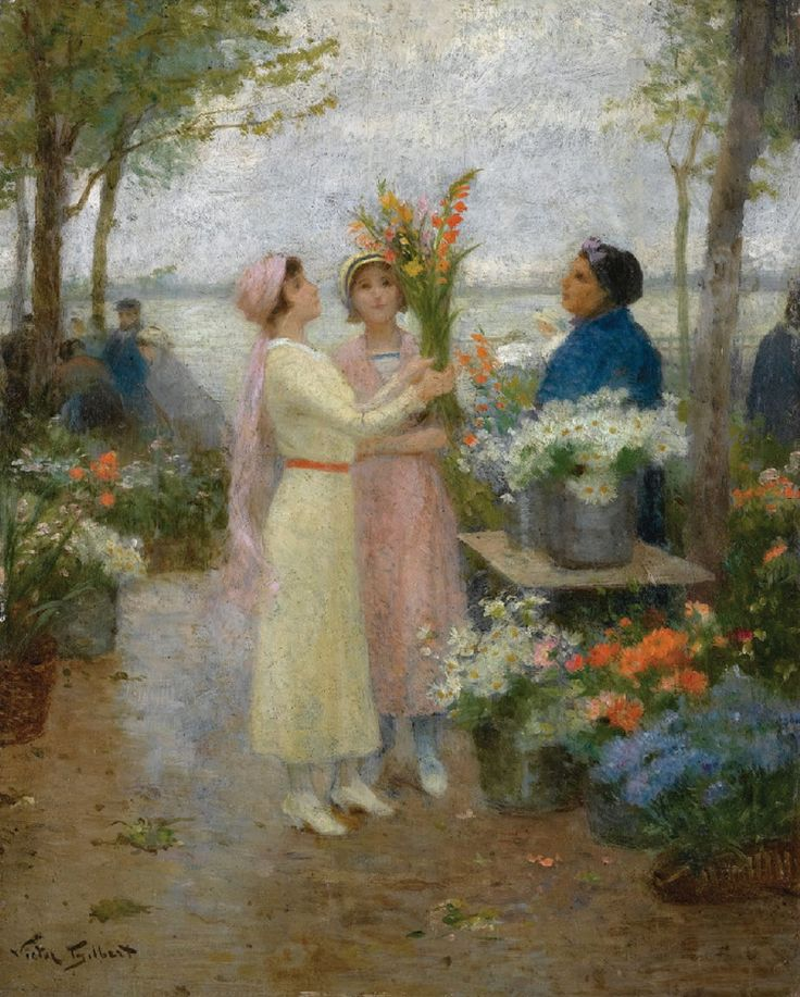 ⊰ Posing with Posies ⊱ paintings of women and flowers - The Gladioli  ~ Victor Gabriel Gilbert (French, 1847-1935)