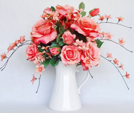 Silk Flower Arrangement Light Apricot Roses By BeautyEverlasting
