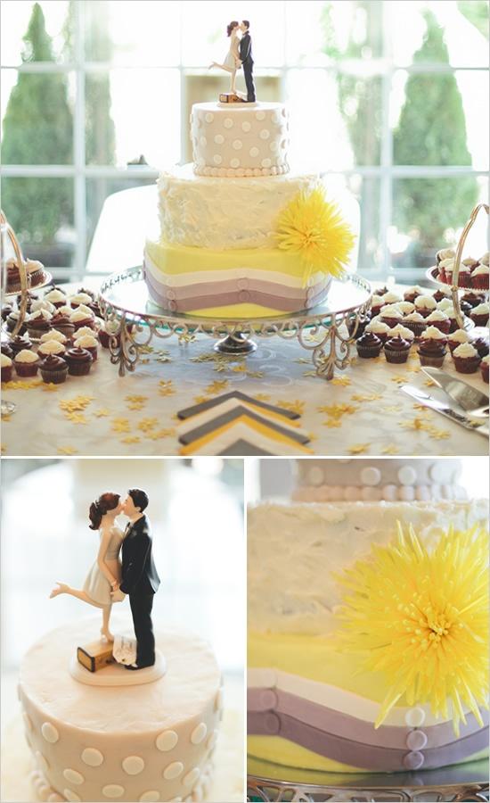 yellow & gray wedding cake