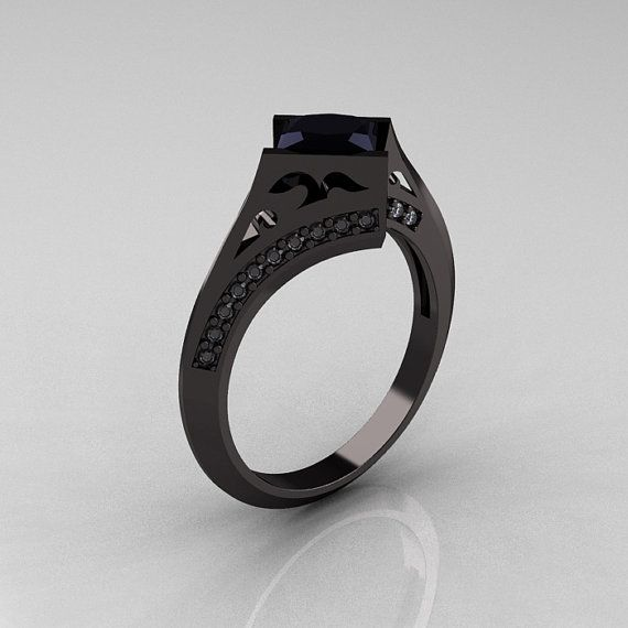 Exclusive French 14K Black Gold 1.23 CT Princess by artmasters, $2149.00