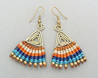 Macrame earrings with wax cotton thread, brass beads and ear wires, multicolor, colorful earring, Bohemian, Orange, Blue, Brown, Boho