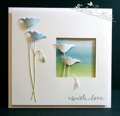 This card can be made more simple by removing the LHS flowers.                                                                                                                                                                                 More