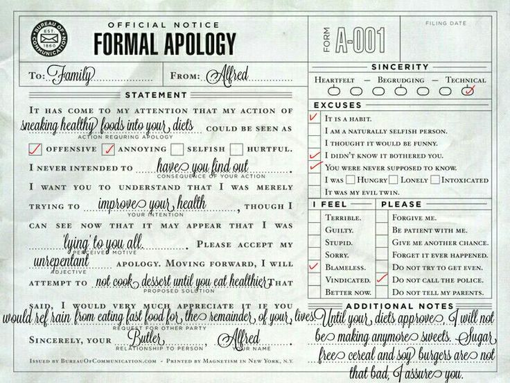 24 best BatFam Apology Slips images on Pinterest Batman family - apology letter to family