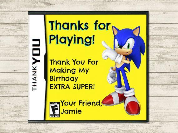 Sonic the Hedgehog Video Game Thank You (Customizable DIY Printable)