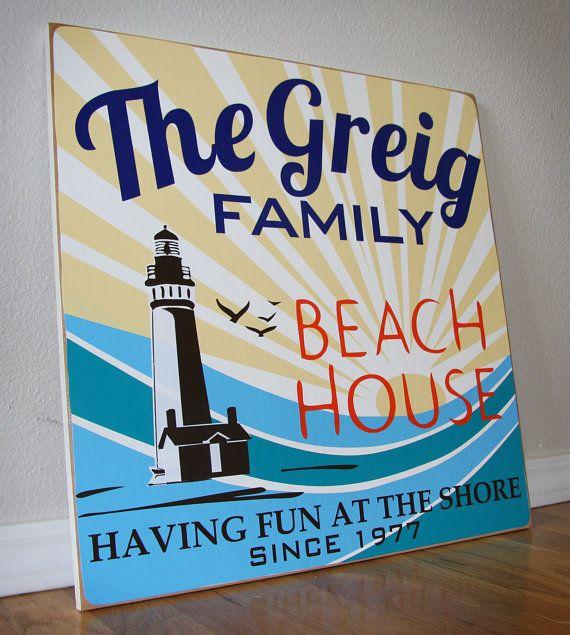 Creative Beach House Names Part - 16: CUSTOM Vintage BEACH HOUSE Sign With Family Name: Lighthouse On Etsy, $75.00