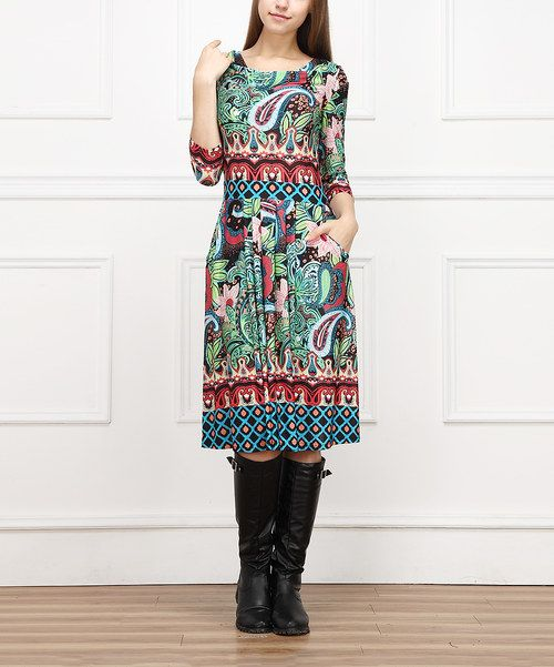 Look at this Blue & Green Paisley Drape Neck Dress on #zulily today!