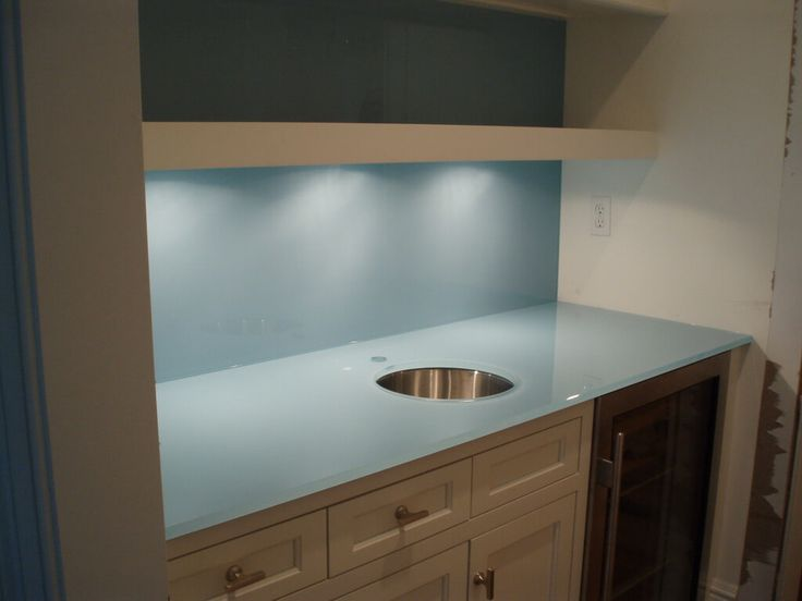 Blue backpainted glass countertop with undermount sink for Paint for glass surfaces
