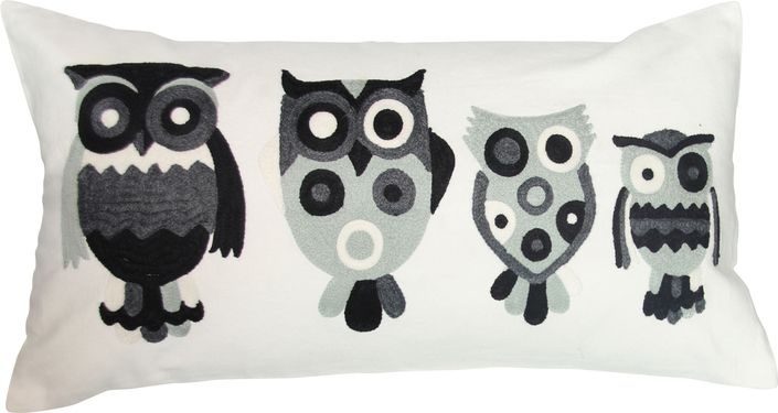 The Owl Family Toss Cushion - Grey from Urban Barn is a unique home decor item. Urban Barn carries a variety of Pillows and other  products furnishings.