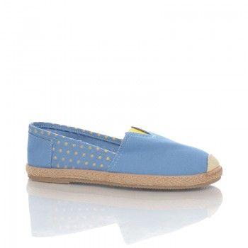 Espadrile Locca - Albastru Espadrilele Locca au un design modern si tineresc, care se incadreaza perfect in tendintele sezonului. Confectionate dintr-un material moale, aceste espadrile sunt deosebit de usoare si comode. Espadrilele Locca au un model de buline galbene foarte jucaus.