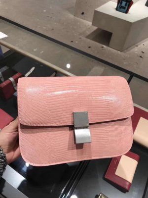 309267befaf Celine Classic Crossbody Carry Lizard Box Bag Pink. Find this Pin and more  on discount price gucci ...