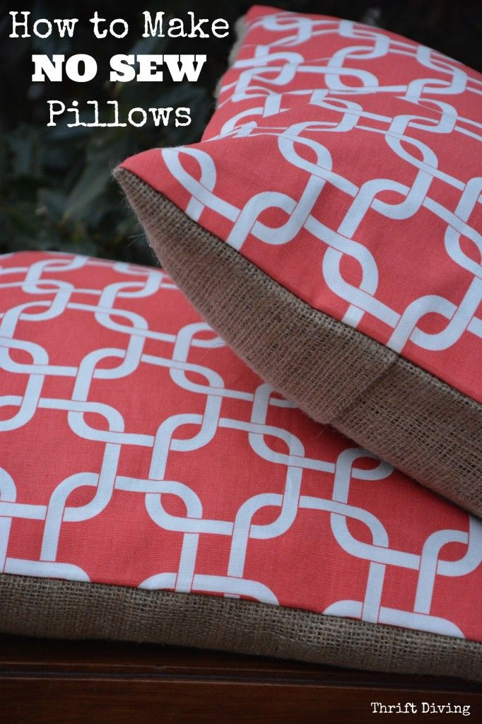 How to Make New Sew Pillows - No sewing machine required! TIP: Upcycle old mismatched pillows you already own as the inserts instead of wasting money on pillow forms.  Includes a video tutorial, too