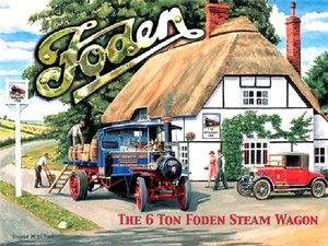 Foden, Steam Traction Engine/Wagon, Classic/Vintage Truck, Small Metal/Tin Sign | eBay
