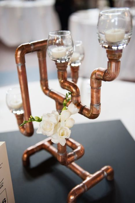 Amazing  Steampunk Wedding centerpiece made from copper plumbing accessories. Source: pinterest #steampunkwedding #copper #centerpiece