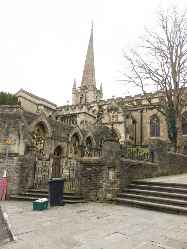 St John's Church, Via Crucis, and church steps in Frome, Somerset