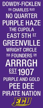 ECU Pirates College Town Wall Art with Logo Picture at East Carolina Photo Store