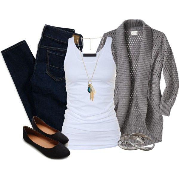 dark denim, white tank, comfy grey cardigan- LOVE.