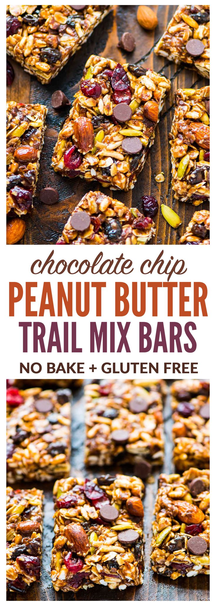 Chewy Trail Mix Peanut Butter Granola Bars with chocolate chips, oatmeal, and honey. Sweet, salty, and NO BAKE! Simple recipe that's perfect for healthy breakfasts and healthy snacks. {gluten free, dairy free, vegan, high protein} Recipe at wellplated.com   @wellplated
