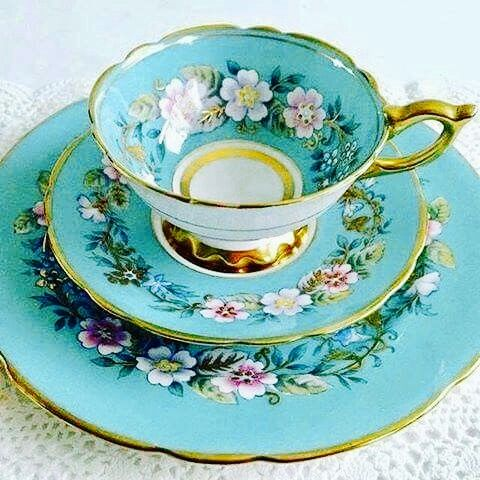 """Vintage Royal Stafford """"Garland"""" Blue Cup and Saucer"""