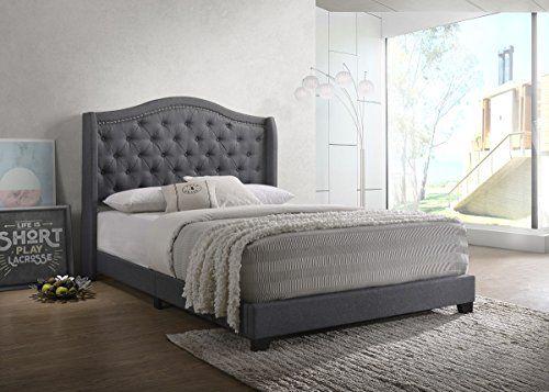Home Design Marlow Upholstered Bed Dark Grey Queen Upholstered Beds Upholstered Panel Bed Bed