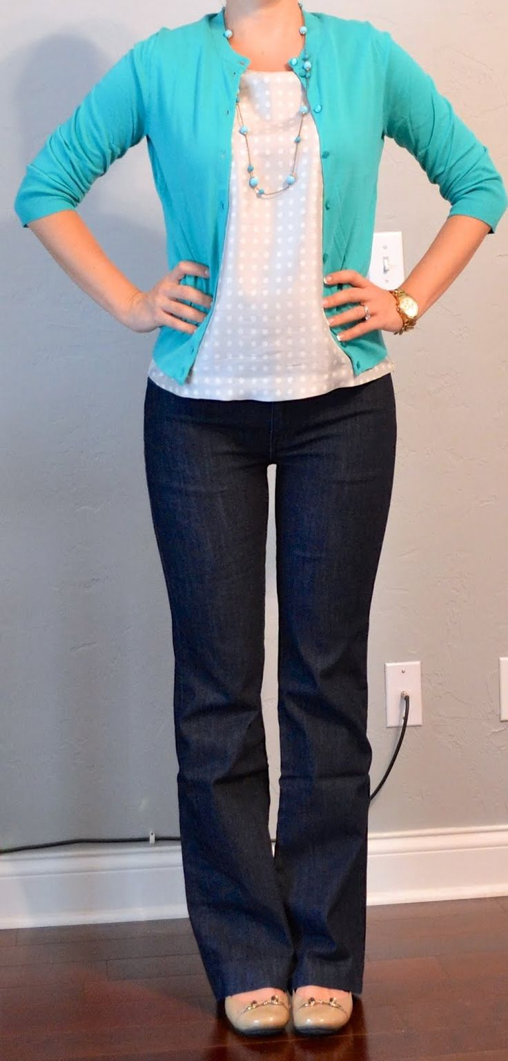 teal cardigan, grey polkadot blouse, trouser jeans