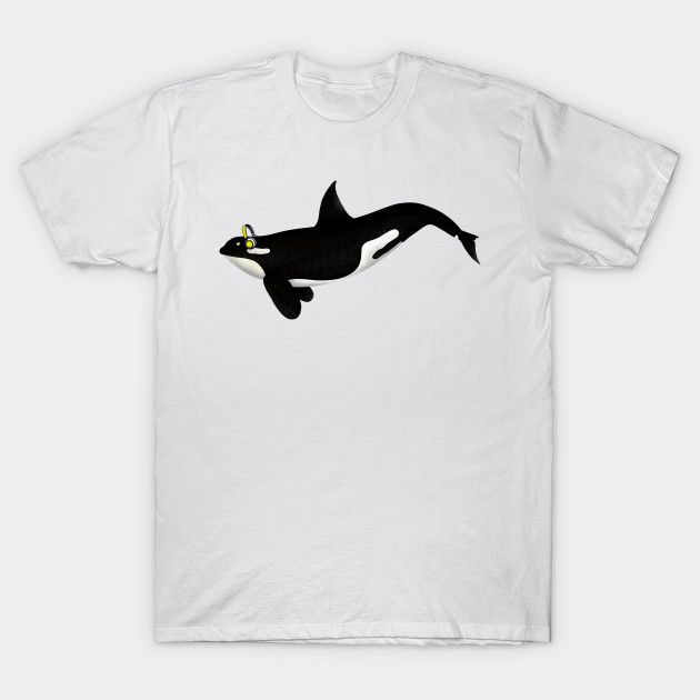 Killer Whale Wearing Headphones t-shirt