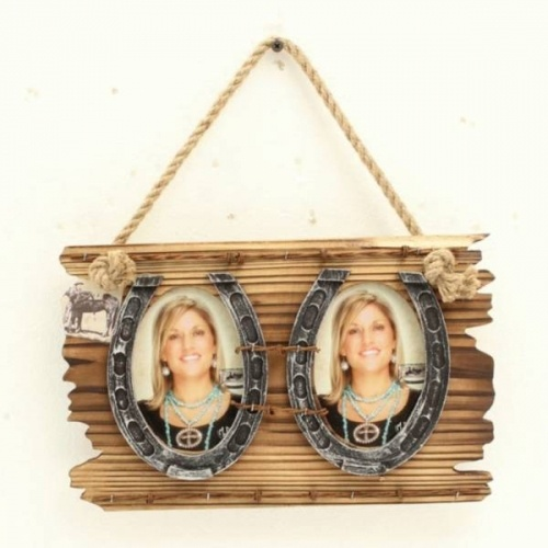 Western Moments 2 Horseshoes Picture Frame  Avaliable at www.denimndust.com